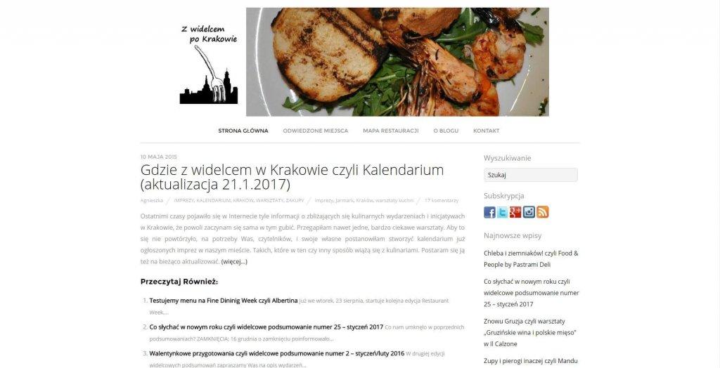 10 blogów na gastronomiczne podboje - Z Widelcem po Krakowie