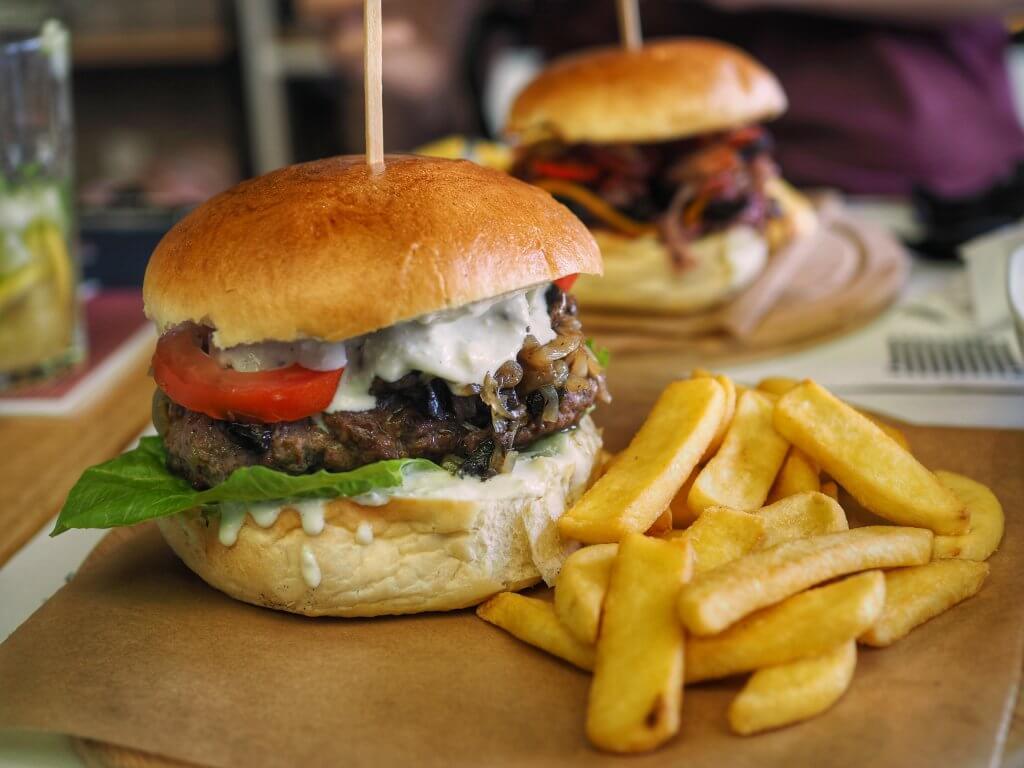 Blue Juicy Lucy burger